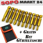 Bit Set 10tlg Kreuz/ Schlitz PH/ PZ Bit Sortiment Lang Bits CV Makita/ Wiha 102