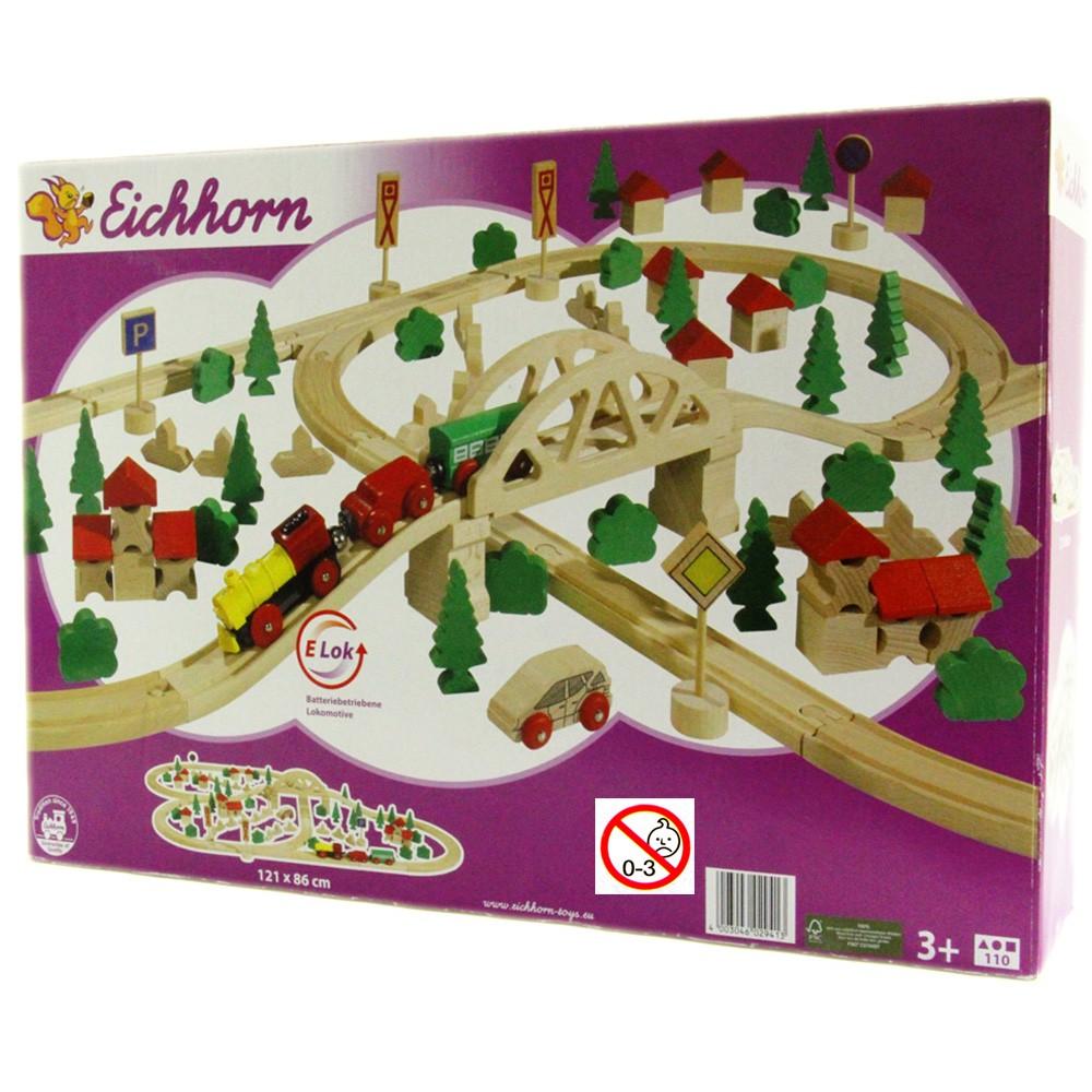 eichhorn holzeisenbahn 110 teilig holz lok auto zug schienen br cke simba 2941 ebay. Black Bedroom Furniture Sets. Home Design Ideas
